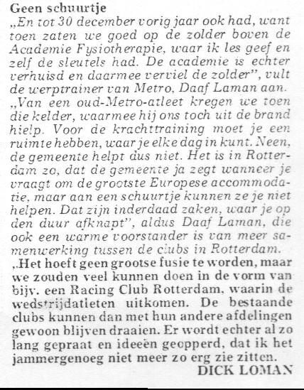 Artikel Atletiekwereld mei 1976