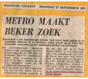 Metro maakt de beker zoek